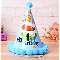 Showking クリエイティブパーティーハット 1歳の誕生日パーティー用品 ケーキパターン コーンハット 小さなソフトボールキャップ_ブルー