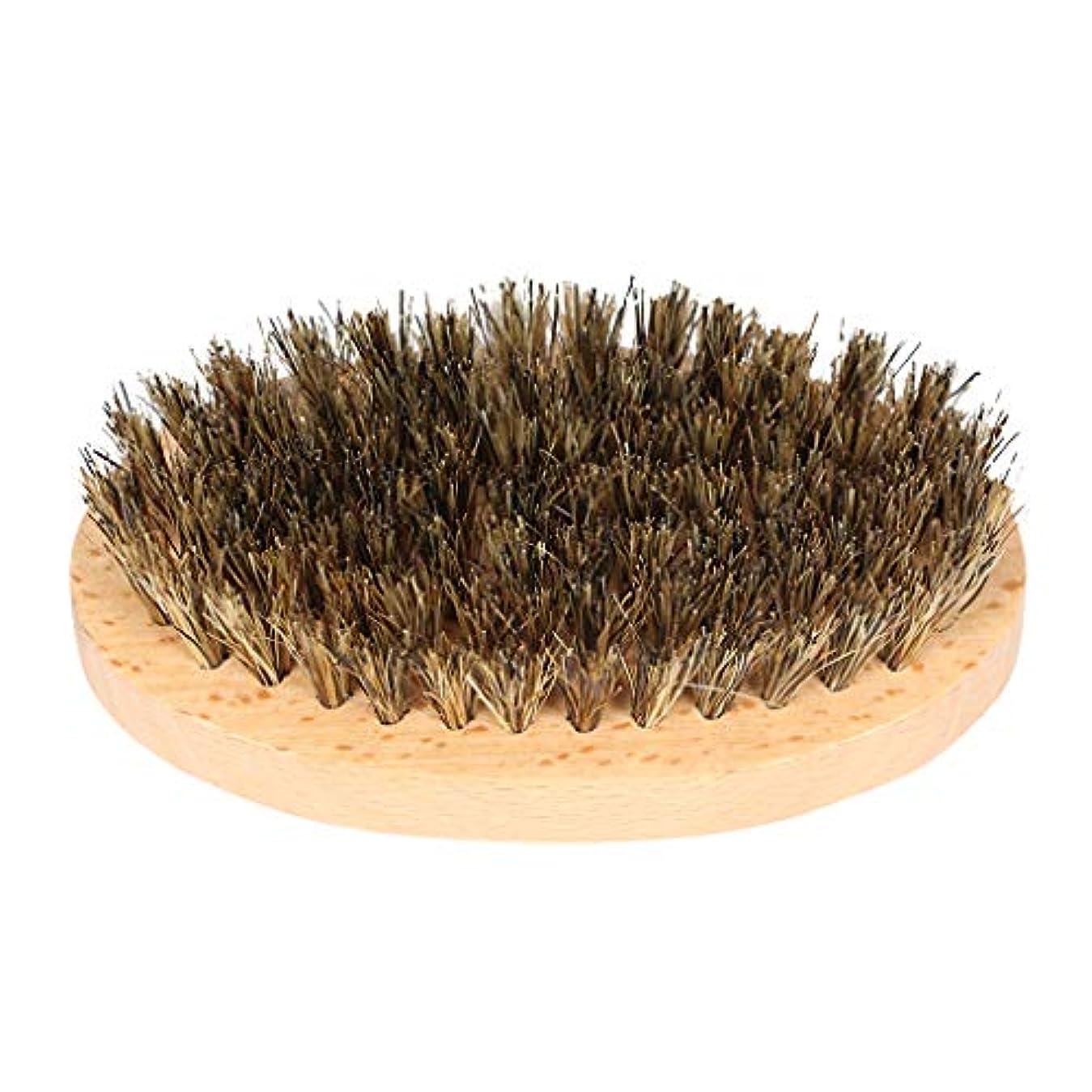 枯れる前書き証言する理髪店の男性の天然木のひげの口ひげ顔の髪のブラシ毛髪のブラシ