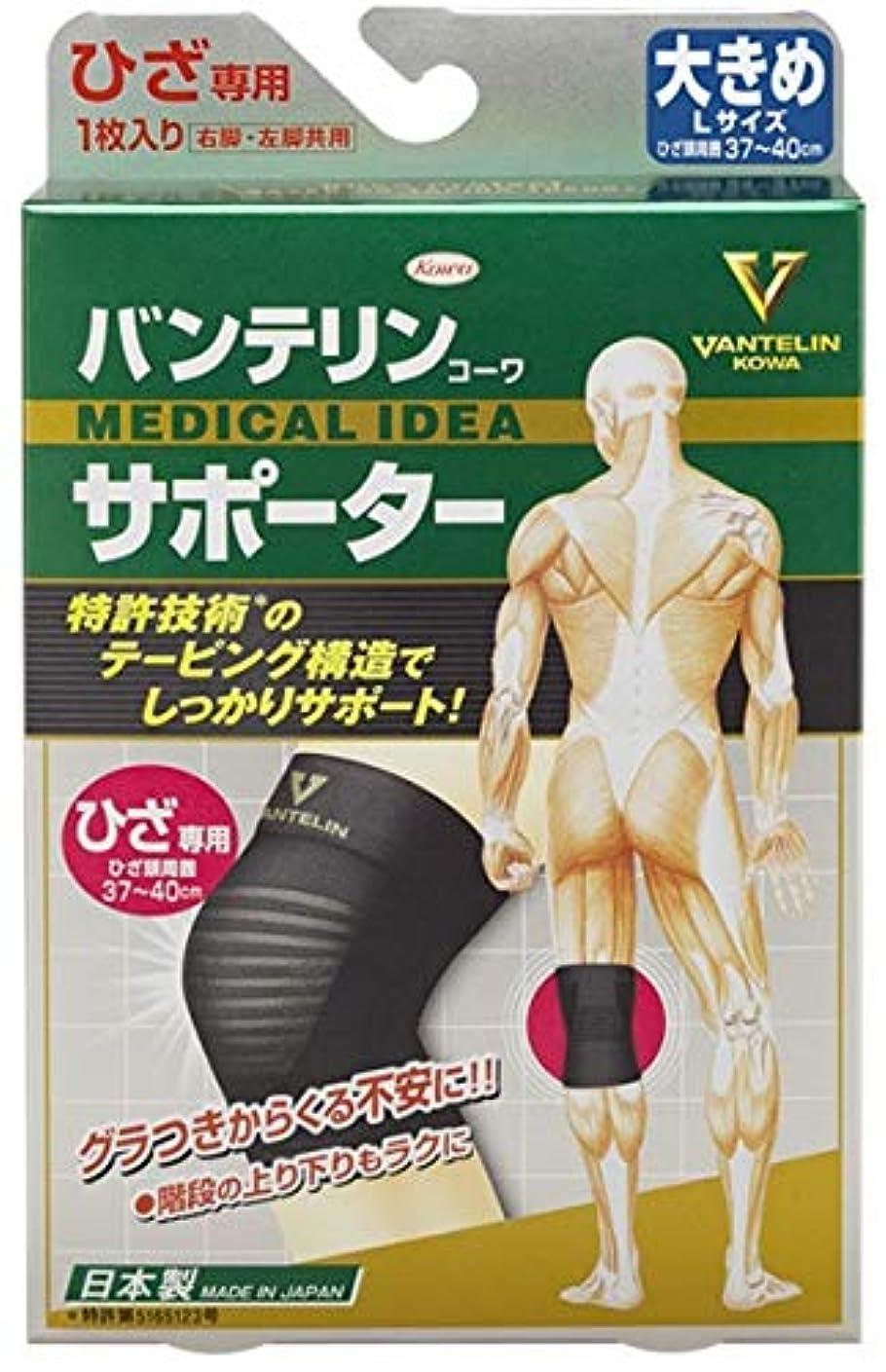 光沢のあるスケートく興和(コーワ) バンテリンコーワサポーター ひざ専用 大きめLサイズ ブラック
