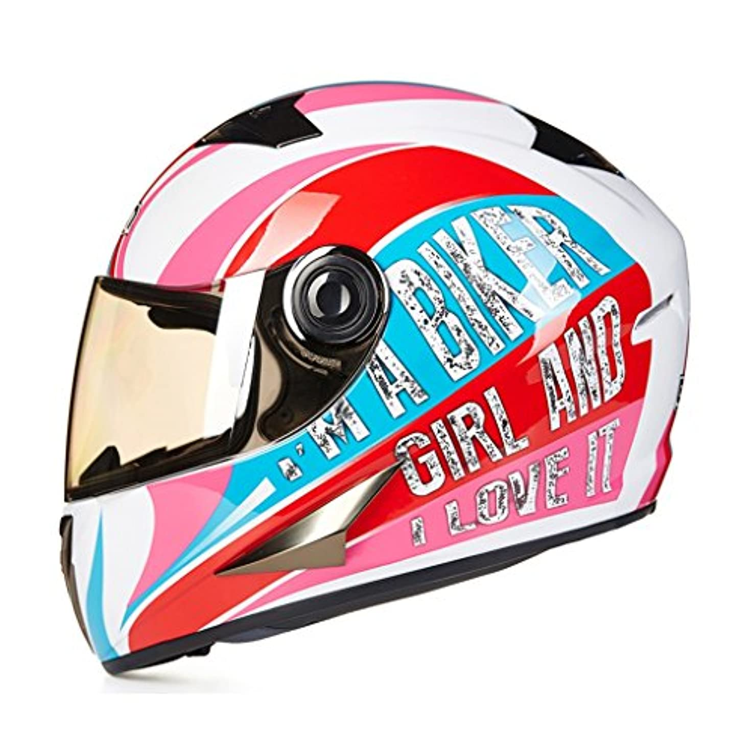 二層舌すすり泣き男性と女性のためのパーソナライズオートバイヘルメットフルカバレッジヘルメットオートバイフルヘルメットレースオートバイヘルメット (Color : Pink, Size : XL)