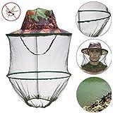 1ピース迷彩アウトドア釣り帽子Mosquito Net養蜂帽子Flying Beeバグ昆虫防止キャップバケットハットメッシュ帽子 – Mosquito釣り帽子