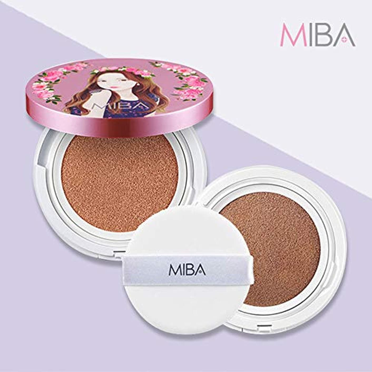 写真撮影ホバー差し迫った【mineralbio】 MIBA ミバ イオンカルシウム ミネラルファンデーション ダブルクッション 本品+リフィル+パフ2枚 SPF50+/PA++++ 普通肌用 (Ion Calcium Foundation Double Cushion set 24g #23 Natural skin)