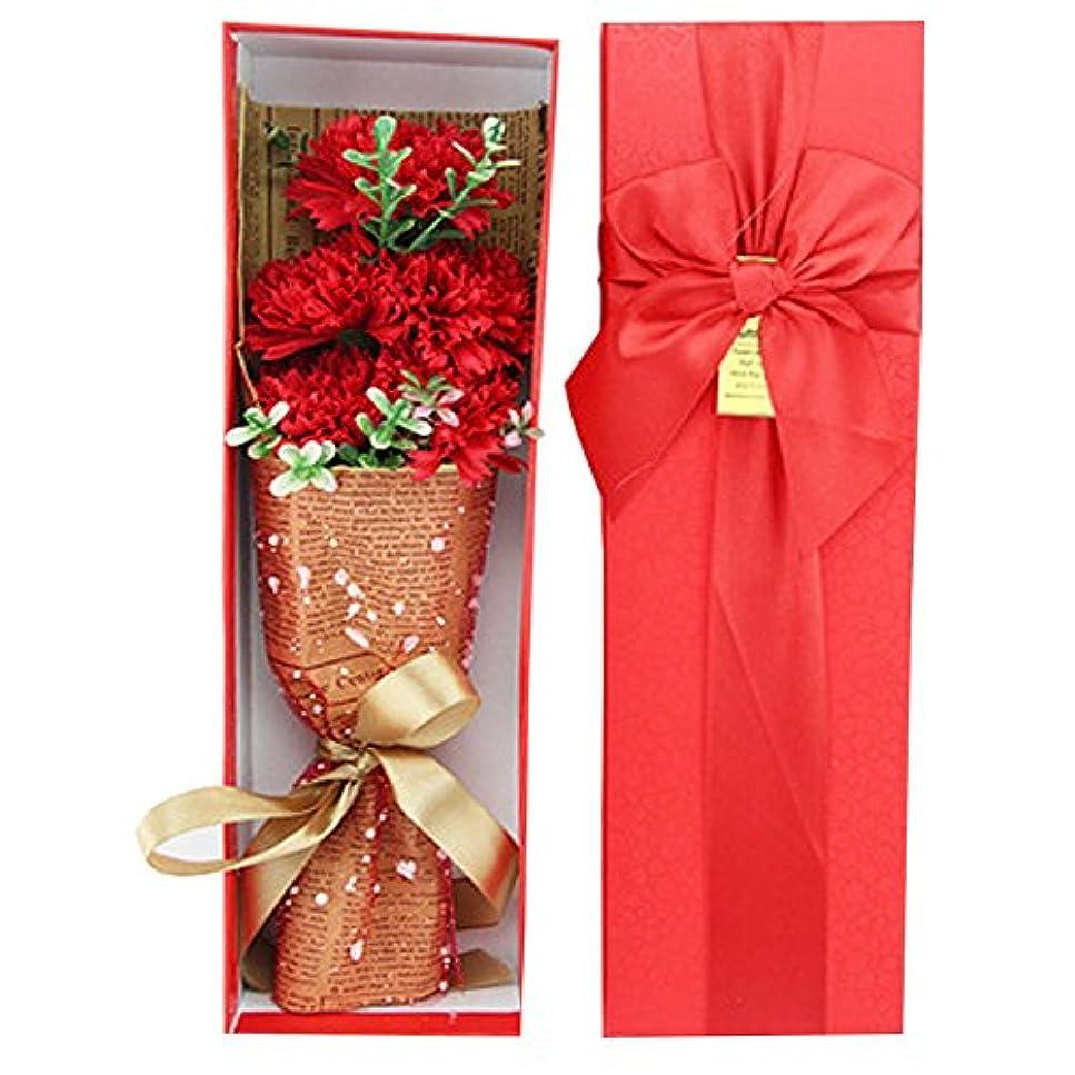 iCoole ソープフラワー 石鹸花 ハードフラワー形状 ギフトボックス入り 母の日 お誕生日 ギフトなどに最高 (レッド)