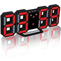 Deerbird® 3つの調整可能な明るさレベルのLEDデスクトップの目覚まし時計自動調光のスヌーズ機能デジタル3D目覚まし時計を吊るすプラスチック目覚まし時計(赤)