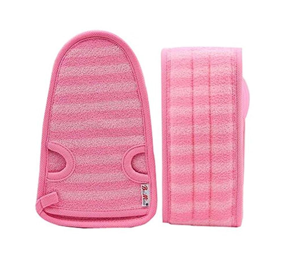 マーキング予想する製造女性のための柔らかい手袋の角質除去の手袋の浴室ベルトの2、ピンク