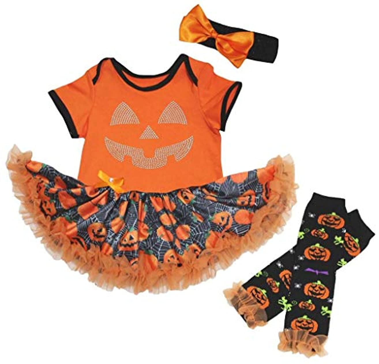 人口残るであること[キッズコーナー] ハロウィン カボチャの顔 オレンジ パンプキン カボチャ ボディスーツ、子供のチュチュ、ベビー服、女の子のワンピースドレス レッグウォーマー セット Nb-18m (オレンジ, Small) [並行輸入品]