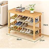 靴ラックナチュラル竹木製シンプルシューズラックストレージオーガナイザーホルダーマルチレイヤーチェンジスツール多機能ストレージシェルフ