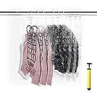 SHINPACK 吊るせる衣類圧縮袋 真空パック 衣類収納袋 6枚セット スペース節約 防塵?防湿 ダニ?カビ対策 手動ポンプ付き