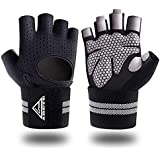 Gym Weight Lifting Fitness Gloves, Breathable Workout Gloves with Built-in Wrist Wraps, for Cross, Fitness, Bodybuilding, Sports, Power Training