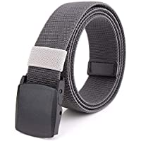 Braided Elastic Stretch Woven Belt with Automatic Sliding Buckle, Canvas Belt With Plastic Buckle (Color : Dark gray, Size : 120cm)
