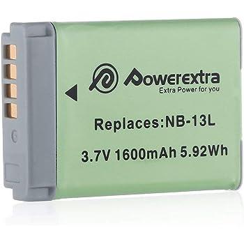 Powerextra Canon/キャノン NB-13L 純正互換バッテリー Canon PowerShot G5X G7X G7X Mark II G9X G9X Mark II SX620 HS SX720 HS SX730 HS 対応