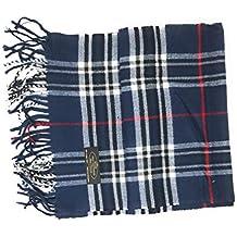 "Anny's 100% Cashmere Plaid Scarf 12""x72"" with Gift Bag - Men Cashmere - Cashmere Women (22 Colors)"