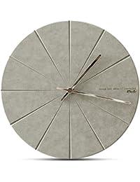 JQStar 木製 壁掛け時計 北欧風  壁掛け時計 見易い シンプル 連続秒針 消音 面白い 壁掛け時計 創意  ファッション おしゃれ トレンディ 静音 石英 癒やし レーザー 彫刻 インテリア (グレー)