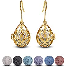 INFUSEU Women's Lava Stone Beads Earrings for Aromatherapy Essential Oil Diffuser Jewelry, Filigree Teardrop Dangling Hook Earrings