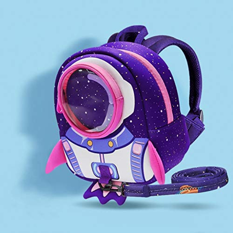 CXQ かわいい子供の学校のバックパックパープルロケットの漫画1?5歳の女の子の学校の反失われたバックパック (Size : M)