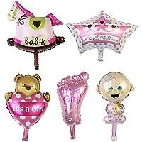 Perfk 新生児  誕生日  パーティー 装飾バルーンセット  ベビーシャワー  飾り  アルミ箔  風船  子供  全2色選べ - ピンク