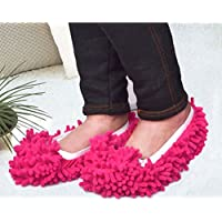 Sungpunet Multifunction Mop Shoe Cover Dusting Floor Cleaning Slipper Housekeeper-Red(1 Pair)