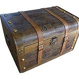 Aoakua 鍵付き 海賊木箱 アンティーク宝箱 特大サイズ (横幅約55cm)