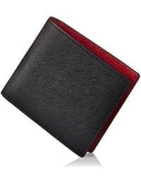 GLEVIO(グレヴィオ) 財布 二つ折り財布 小銭入れ付き メンズ ブラック×レッド