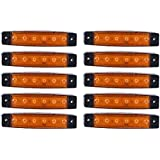 PolarLander 10 Pieces 6 LED Amber Orange Rectangular Side Marker Indicator Rear Lights Lamps Tail Light Trailer Truck Lorry
