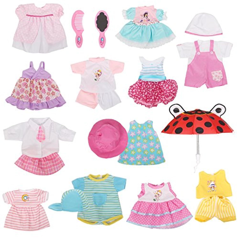 12ベビー人形ハンドメイド服セット、ドレス服装コスチューム14 – 16インチ用人形 可愛い人形バービー布帽子キャップ傘ミラーコームガールズクリスマス誕生日ギフト