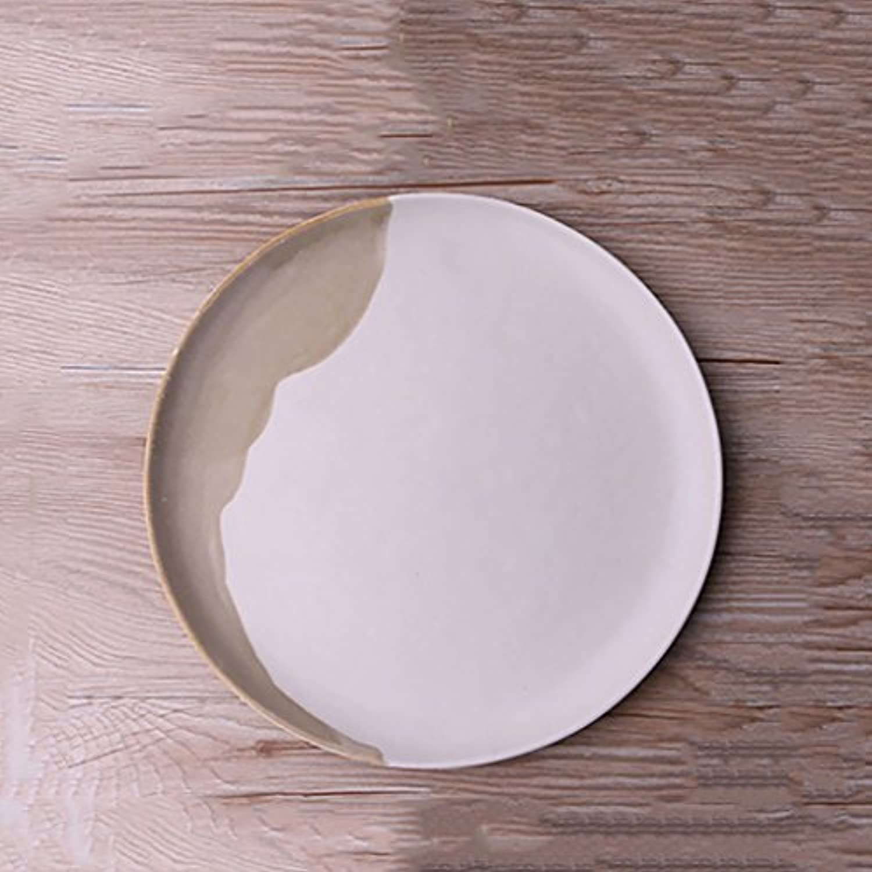 デザートプレート、セラミックラウンド10.2インチフルーツサラダプレート、ヨーロッパのシンプルな手描きの家庭用釉の食器、西洋プレートのステーキプレートの家の装飾板を吊るす皿
