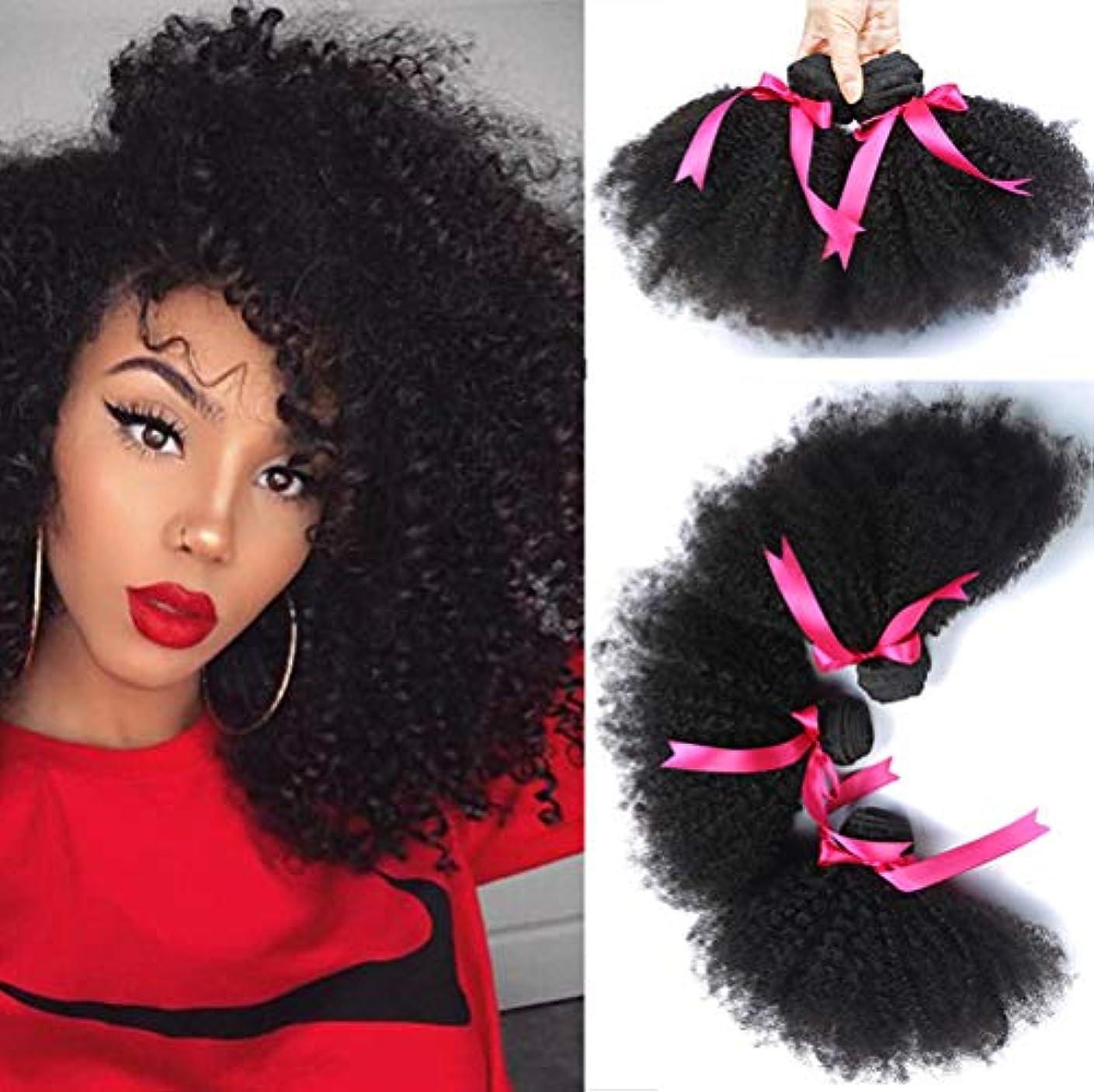 辛い靄単独でブラジルの髪バンドル女性100%未処理のバージンレミー人間の毛髪延長1バンドル変態巻き毛の織り