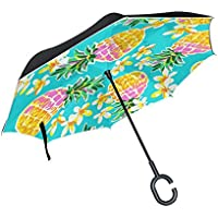 逆さ傘 逆折り式傘 車用 日傘 長傘 パイナップルと花柄 青 UVカット 手離れC型手元 撥水加工 晴雨兼用 耐風 124センチ