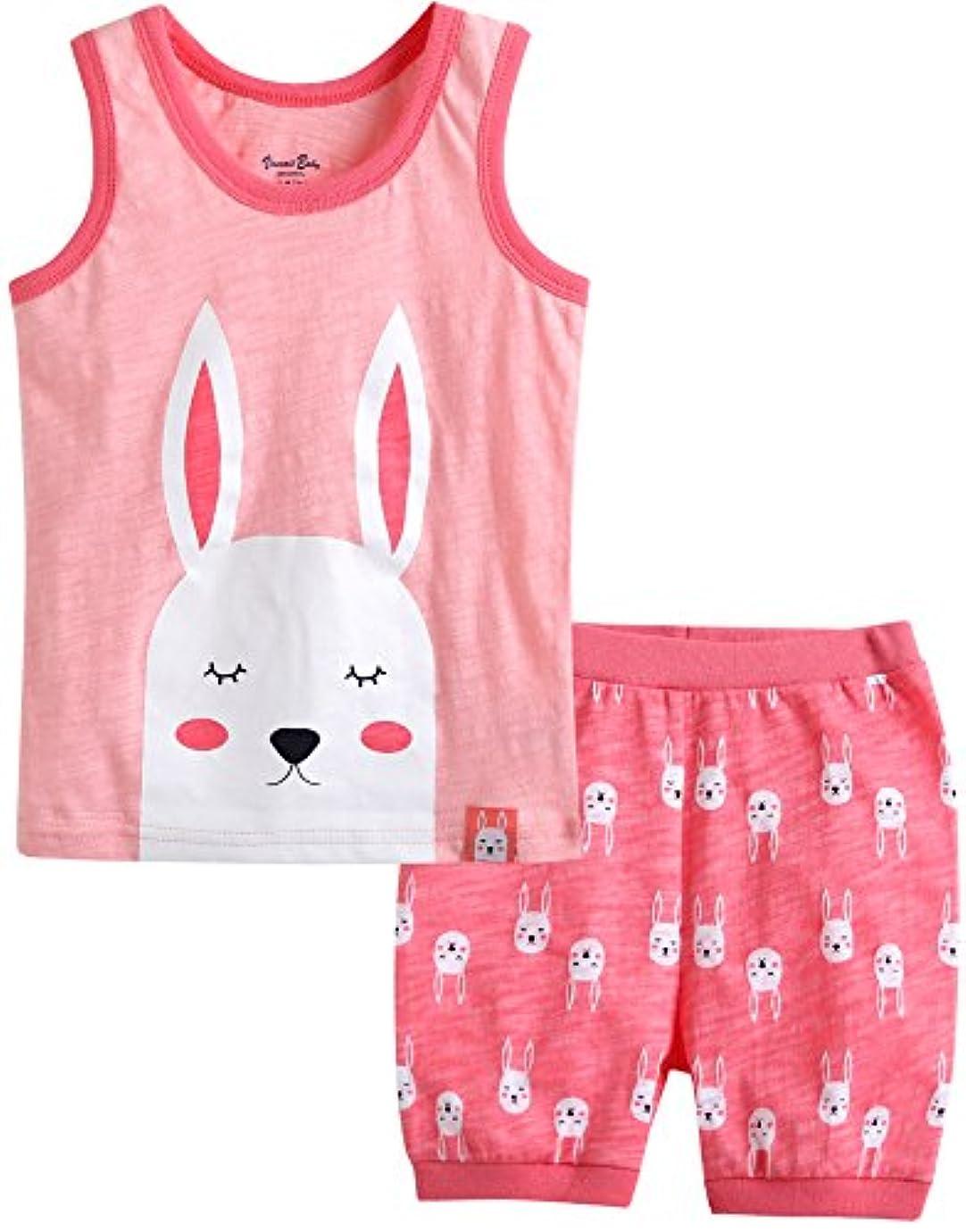 けがをする温室フィット[Vaenait Baby]キッズ12ヶ月-7歳綿100%ルームウェアノースリーブパジャマ寝間着上下セットCoolcool Rabbit
