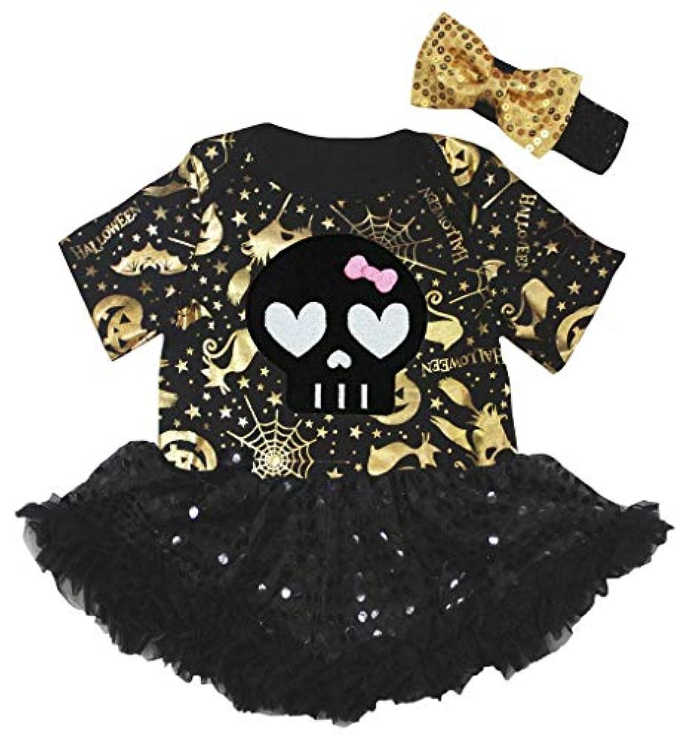 ケーブルカーケーブルカー借りる[キッズコーナー] ハロウィン Cute Skull ブラック ゴールド パンプキン 子供ボディスーツ、子供のチュチュ、ベビー服、女の子のワンピースドレス Nb-18m (ブラック, X-Large) [並行輸入品]