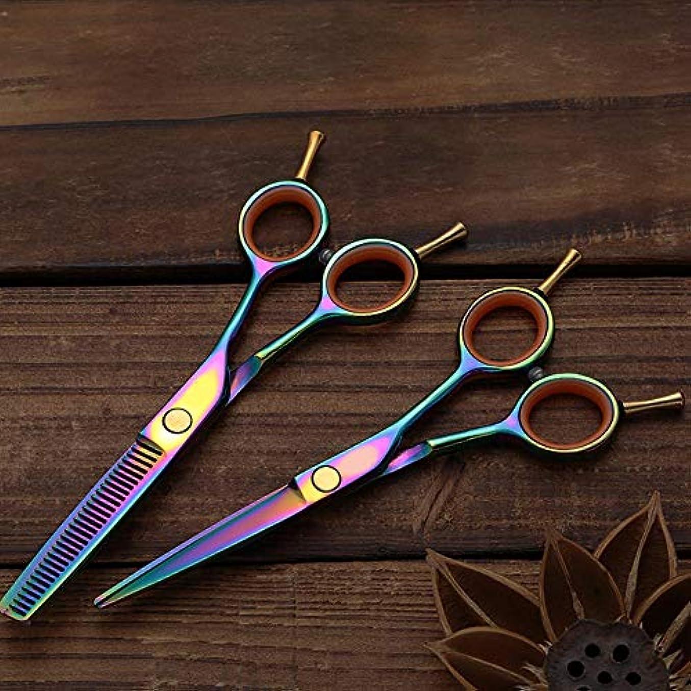 誇張手段部分的Hairdressing 多彩なめっきされた二重尾理髪はさみ、平らな+歯はさみ専門の理髪セットの毛の切断はさみのステンレス製の理髪師のはさみ (色 : カラフル)