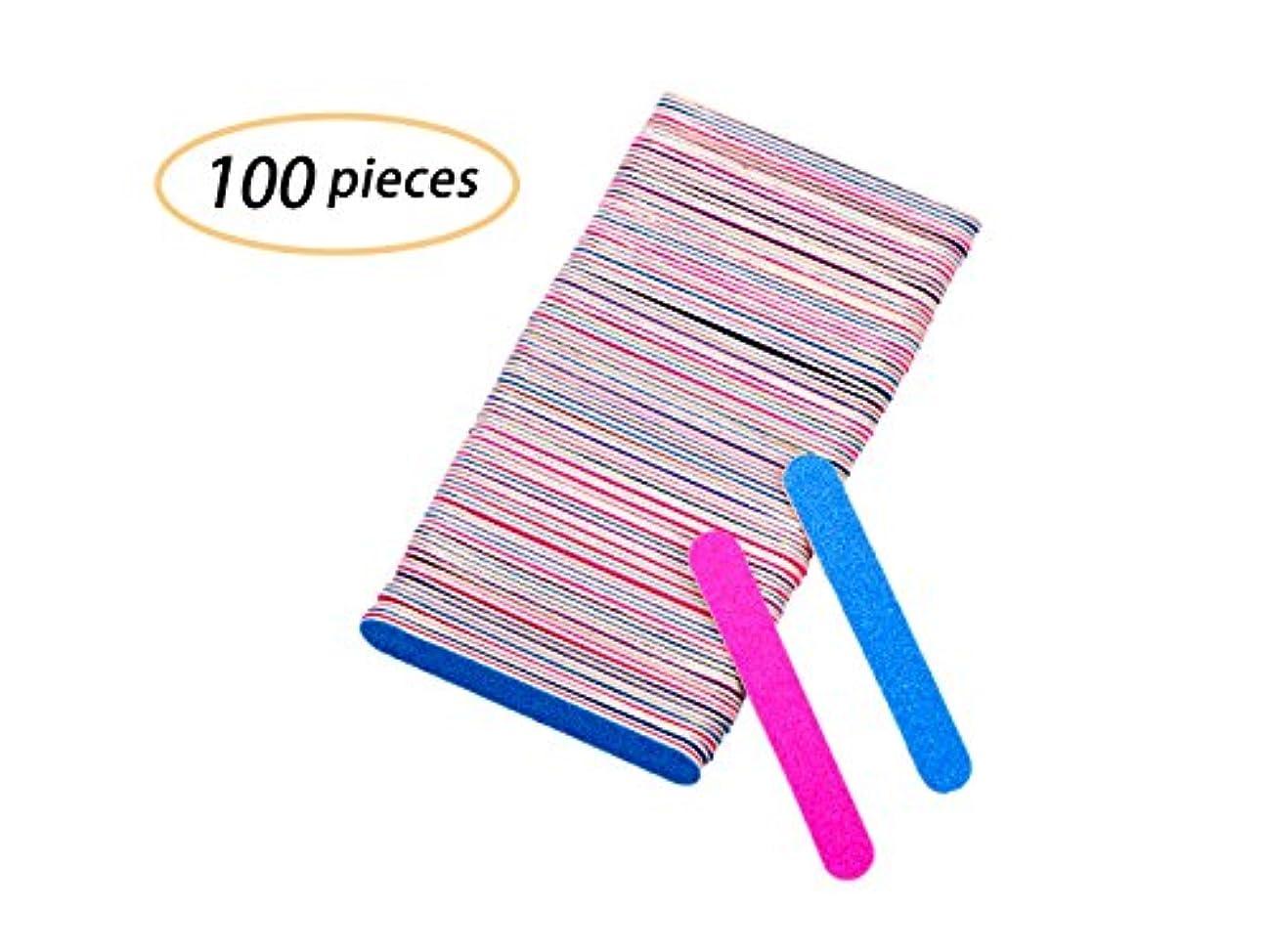 マーク主池Yolito 100pcs ネイルファイル エメリーボード 爪やすり使い捨て 爪磨き両面 ジェルネイル/自爪(180、240グリット)