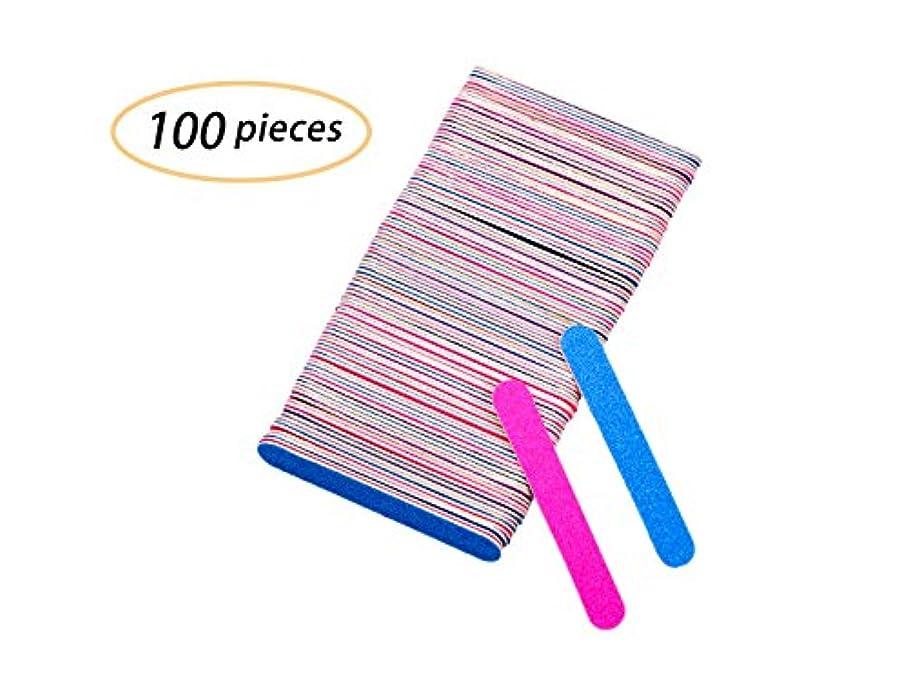 要塞座る人気Yolito 100pcs ネイルファイル エメリーボード 爪やすり使い捨て 爪磨き両面 ジェルネイル/自爪(180、240グリット)