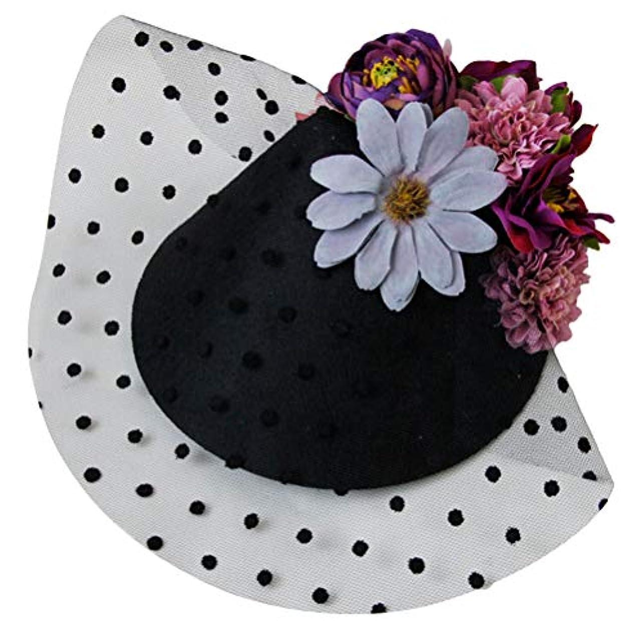 添加剤電気技師コンソールLurrose 魅惑的な帽子ヘアピンフラワーシースターガーゼバレッタヘッドドレス