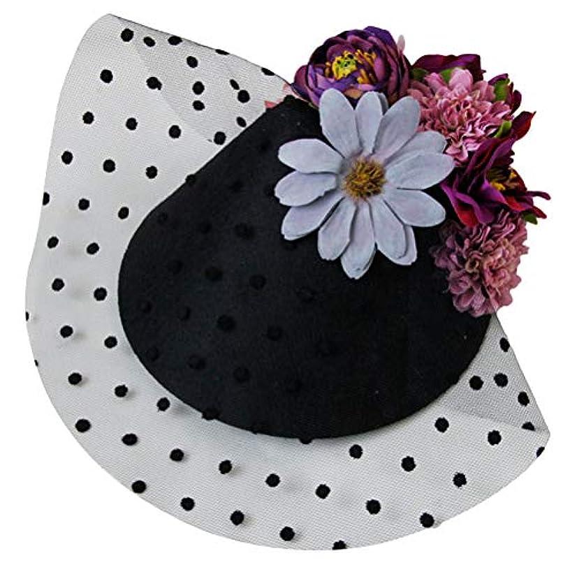 プレゼント匹敵しますあいまいさLurrose 魅惑的な帽子ヘアピンフラワーシースターガーゼバレッタヘッドドレス