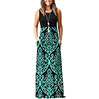 MOLERANI Women's 3/4 Sleeve A-line and Flare Midi Long Dress with Pockets