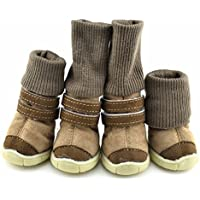 Etopfashion 犬の靴 ドッグブーツ ハイヒール犬靴 スエード製 ペット スノーブーツ 滑り止め 保暖 軽い 柔らかい ドッグシューズ 肉球保護 小型犬 中型犬 愛犬のお散歩 雨靴 3色5サイズ選べる