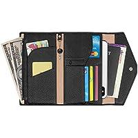 RFID Blocking Genuine Leather Passport Holder Travel Wallet Card Organizer for Women