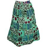 Women Casual Skirt Patchwork Rayon Green Printed Cotton Banzara Resort Style Holiday Skirts M