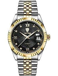 Molody メンズ時計 ファッション 贅沢 ハイエンド 自動巻き 機械式腕時計 クリスタル 腕時計 (ブラック)