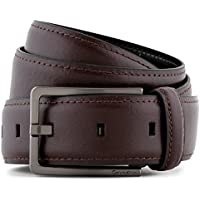 Calvin Klein Men's Stitch Harness Buckle Leather Belt Dark Chocolate