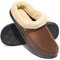 Apan Men's Winter Slippers Warm Memory Foam Woolen Fabric Indoor Outdoor Clog House Shoes(Size 6-16)
