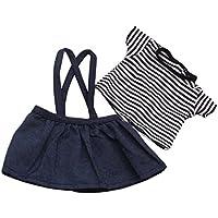 Lovoski  人形 かわいい ストライプ 半袖 Tシャツ ショルダーストラップ ミニスカート 18インチアメリカンガールドール適用 服装