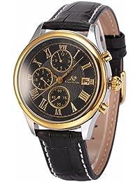 Ks メンズ ラグジュアリー 6ハンズ 自動機械式 日付・月・曜日表示 ゴールドケース ブラック レザー腕時計KS148