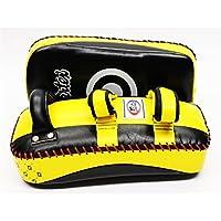 純正Fairtex MUAYTHAI標準カーブキックパッドイエロー/ブラック限定カラーkplc2 MadeからプレミアムCow Hide Leather