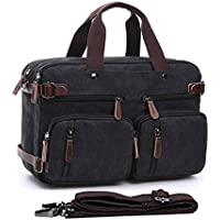 15.6-17.3 Men's Messenger Bag Canvas Laptop Bag Gudui Hybrid Multifunction Briefcase Handbag with Computer Bag Shoulder Bag BookBag Military Satchel (17.3 Black)