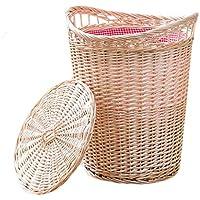 籐のポータブルランドリーバスケットベッドルーム綿の三角のライニング汚れたハンパー服雑貨のストレージバスケット (色 : 白, サイズ さいず : 40 * 30 * 48cm)