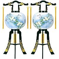 盆提灯 12号 対仕様(左右2台1組) 置き型 あかり 廻転灯付 高さ91cm 電気コード式 日本製 行灯 盆提灯 八女提灯