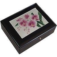 七宝焼 宝石箱(オルゴール付き)胡蝶蘭(小) 121-19