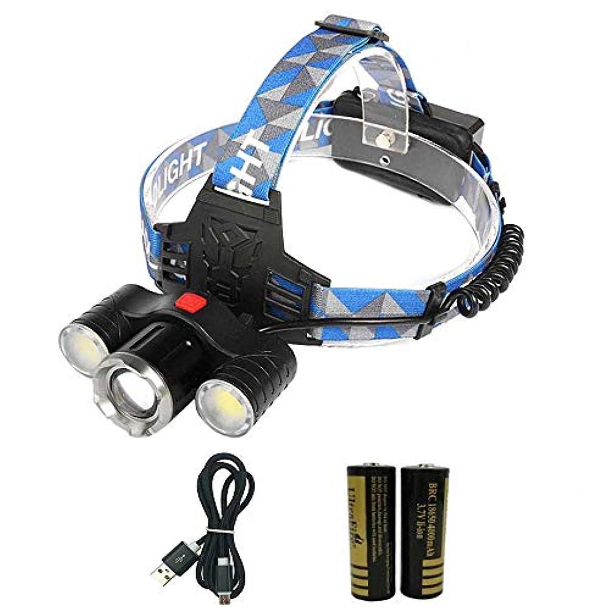 解体する資格財産LEDヘッドライト充電式 CREE XM-T6 20W 2000ルーメン 生活防水 充電線+保護回路付18650充電池2本セット 角度調整可能 4段階点灯 登山 夜の作業 ナイトランニング 夜釣り アウトドアに